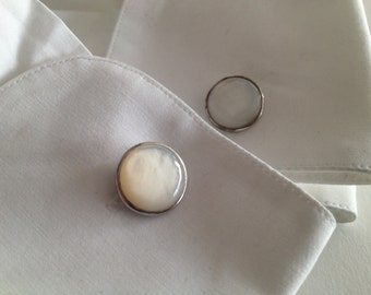 Five (5) piece Mother of Pearl MOP Double Panel Cufflinks and Shirt Studs