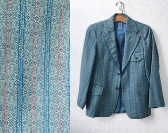 Blue Wool Jacket, School Girl Tweed Blazer, Plaid Button Front Coat, Grey, size Small or Medium Ladies,Tailored by Elmwood, Vintage
