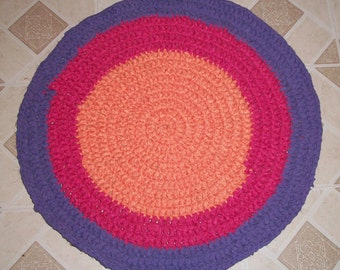 Purple, Pink, and Orange Crochet Rag Rug