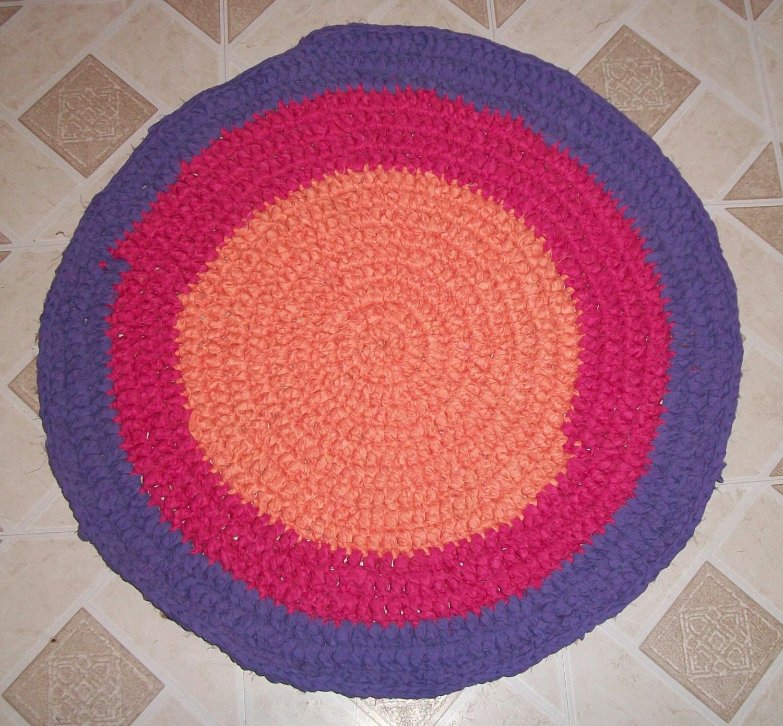 Purple Pink And Orange Crochet Rag Rug