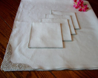 Linen Tablecloth Set Vintage Card Table Cloth with Four Napkins Tea Cloth