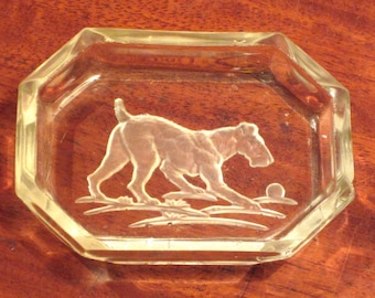 Vintage 1930's Intaglio Open Salt Dish With Terrier Dog