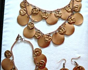Copper jingle multi strand necklace, bracelet & earring set, bling jewelry, statement jewelry
