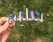 Rainbow Princess crystal crown, quartz tiara, raw crystal crown, crystal headpieces, music festival crown, mermaid crown, alternative bride