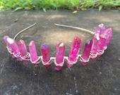 The Pink Princess, pink crystal crown, rose aura quartz crystal crown, crystal headdress, alternative bridal crown, pink crystal crown