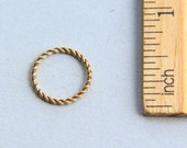 24K Gold plated Jump Ring, 24K Gold Plated Sterling Silver Jump Ring, Twisted Wire Jump Ring, Closed Ring, 14mm ( 1 piece )