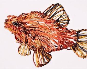 Fish brooch Metal wire art Ocan Fish jewelry Tropical jewelry Sea art sculpture womens colorful jewelry Orange jewelry Statement brooch