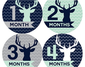 FREE GIFT, Woodland Baby Month Stickers, Boy, Deer, Antlers, Navy, Mint, Gray, Grey, Woodland Monthly Baby Stickers, Baby Boy Month Stickers