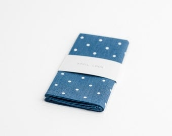 Blue pocket square, white polka dots