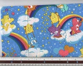 "Care Bears (Blue Stars Backgrounds) - 15"" PLUS 7 Pre-Cut 6-1/2"" X 6-1/2"" Squares - 100% Cotton Fabric"
