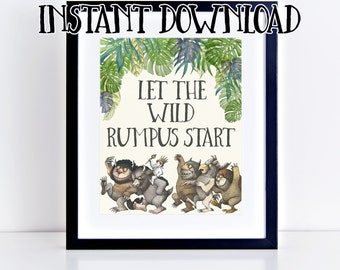INSTANT DOWNLOAD! Where the Wild Things Are Birthday Party Printables- Wild Rumpus, Max (8x10 signs)