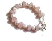 Pink Bracelet - Sterling Silver Jewelry - Pink Rose Quartz Gemstone Jewellery - Pearls - Chunky