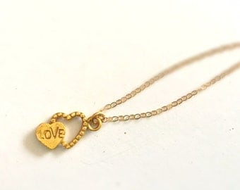 Gold Heart Necklace - Love Necklace - Valentine Jewellery - Sweetheart
