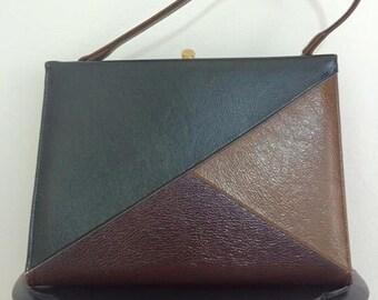 What's Your Angle? // 1960s Tri-toned Handbag Purse Pocketbook