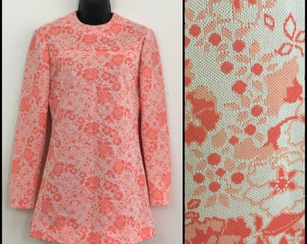 60s 70s Pink Floral Tunic Top Mini Dress