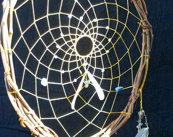 Dream Catcher for Dispersing Negative Energy - quartz and electroplated rainbow fluorite