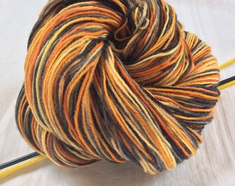SALE Hand dyed Variegated 4ply Knitting or Crochet yarn. Sock knitting. Orange, black. 'Tiger Feet' Colorway