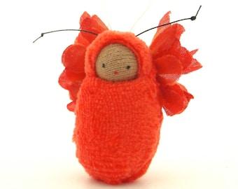 Fairie baby ornament  butterfly child orange fairy doll cute miniature FB-OR2