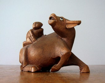 Vintage Carved Wood Water Buffalo / Rider Sculpture / Bookend / Figurine