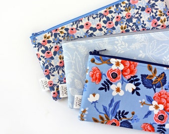 Rifle Paper Co Fabric, Zipper Pouch, Blue Floral, Pencil Pouch, Pencil Case, Make Up Bag, College, Kids, Gift Under 20, Cosmetic Bag, Wallet