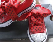 Red Converse, Girls Shoes, Ladybug Laces, Bling Crystals, Baby Toddler, Black Red Dots, Polka Dots, Sizes 2-10 Kids