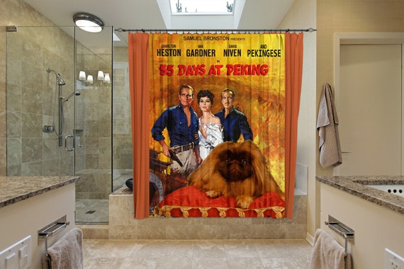 Pekingese Art Shower Curtain, Dog Shower Curtains, Bathroom Decor - 55 Days at Peking Movie Poster by Nobility Dogs