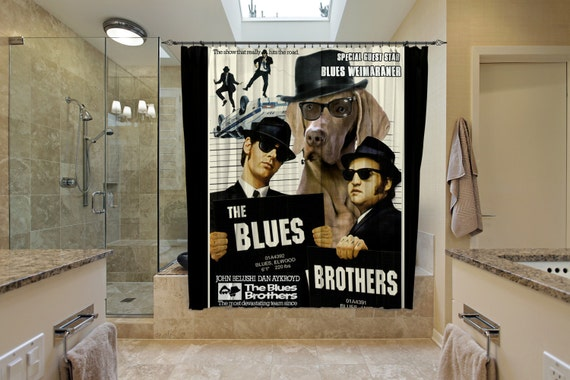 Weimaraner Art Shower Curtain, Dog Shower Curtains, Bathroom Decor - The Blues Brothers Movie Poster by Nobility Dogs