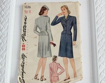 Vintage 40's Sewing Pattern Misses Two Piece Suit Simplicity #1226 Sz 16 Bust 34 Complete Unprinted