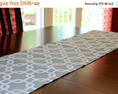 SALE Grey Table Runner- Premier Prints- Grey Gotcha Chainlink Kitchen Table Decor- Wedding, Events, Holiday, Dinner Party- Table Topper