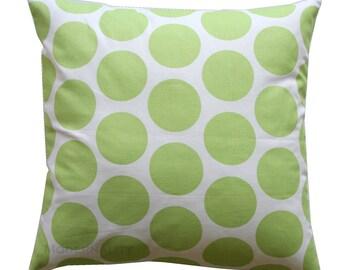 CLEARANCE Polka Dot Pillow Cover, Dandie Dot Kiwi Green Pillow Cover, 16x16 Zippered Pillow, Cushion Cover, Designer Throw Pillow, SALE