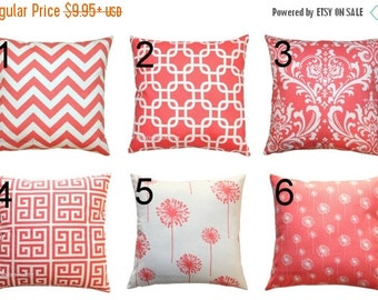 SALE Lumbar Pillows- Premier Prints Coral Decorative Pillow Cover- 12x16 or 12x18 inches- Hidden Zipper Closure- You Choose