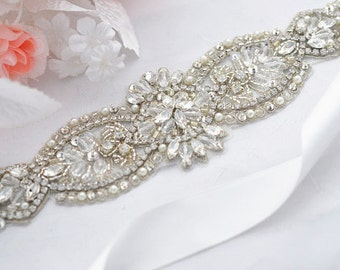 SALE Wedding Belt, Bridal Belt, Sash Belt, Crystal Rhinestones & Pearls