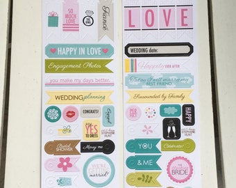 Bella Blvd. sticker sheets, 2, Engaged At Last and Love and Marriage by Stephanie Hunt, for scrapbooks, paper crafting, card making