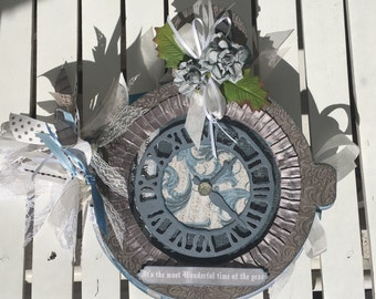 Mini Album, Pocket Watch, KaiserCraft Frosted, 10 pages, for photos, scrapbook, journal, in greys, white, cream, and blues