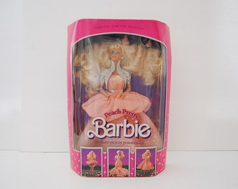 Vintage Barbie Doll, Peach Pretty Barbie, 80's Special Limited Edition Barbie, Mattel 1989 Barbie in Box