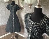 "Vintage 1950's Black Pink and Blue Cotton Novelty Print Dress XL 33"" Waist"