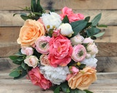 Coral and Peach Bouquet, Loose Bouquet, Wedding Bouquet, Rose Bouquet, Keepsake Bouquet by Holly's Wedding Flowers