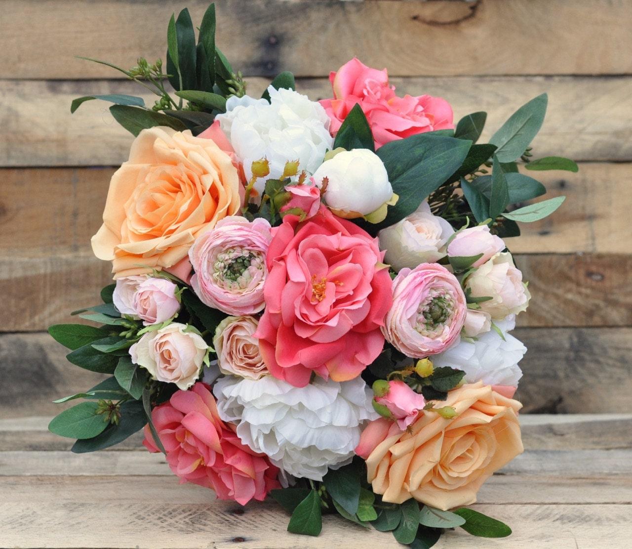 Coral And Peach Bouquet Loose Bouquet Wedding Bouquet Rose