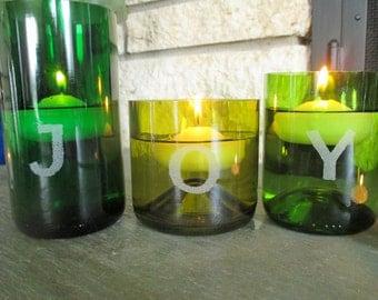 "Set of 3 Hand-Etched ""JOY"" Wine Bottle Vases / Candle Holders + Floating Candles"