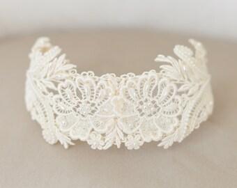 Vintage Lace Bridal Cap, Ivory Lace Cap, Ivory Headpiece, Ivory Lace Crown, Princess Grace Ivory Veil Cap, Wedding Cap Headpiece - STYLE 32