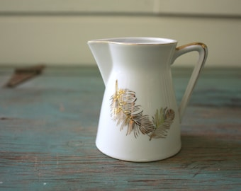 Lefton China Handpainted Feather Pitcher, Gold and White Pitcher, Feather Creamer