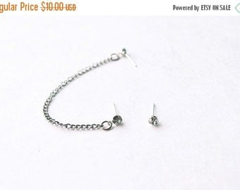 VALENTINES DAY SALE Silver Crystal Single Chain Cartilage Earring (Pair)