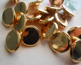 Metal Buttons Gold 6pcs