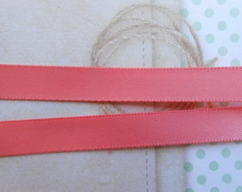 """Ribbon Satin Double Face CoralPink 3/8""""width 20 yds"""