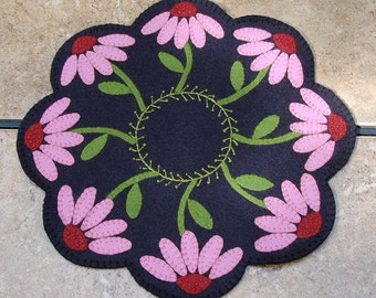 Pink Cone-flower Penny Wool Candle Mat