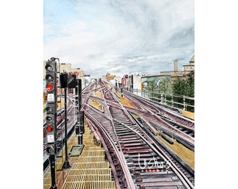 TRAINS - Train yard in New York print 11 x 14