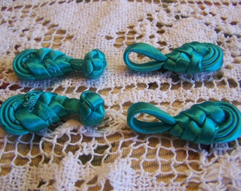 Pair of Pretty Turquoise Handmade Satin Chinese Frog Closures