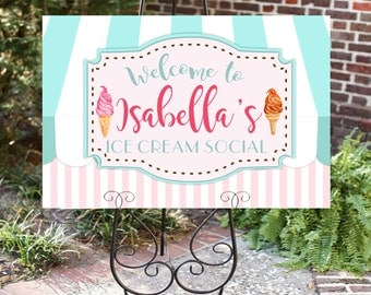 Ice cream sign- Welcome Sign- Ice cream social- Ice Cream Party- Sundae Table Sign-Printable- You Print