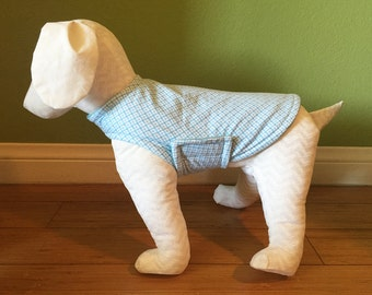 Fleece Coat & Flannel Dog Jacket, Extra Small, White, and Baby Blue Geometric Diamond Print Cotton Flannel with Baby Blue Fleece Lining