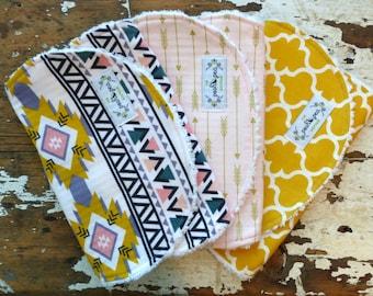 Tribal Baby Girl Bibs OR Burp Cloths - Gold Aztec, Gold Arrows on Pink, Mustard Quatrefoil - Set of 3 - Gold, Lavender, Pink